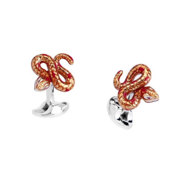 Sterling Silver Orange Enamel Snake Cufflinks