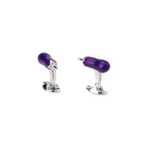 Sterling Silver Purple Aubergine Cufflinks