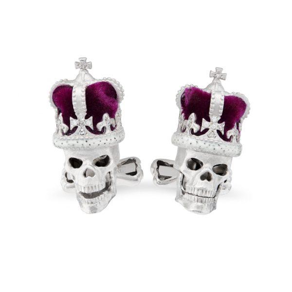 18ct White Gold Diamond Skull Cufflinks with Purple Crown And Diamond Eyes