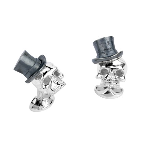 Sterling Silver Skull With Black Top Hat Cufflinks