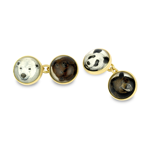 18ct Yellow Gold Hand-Painted Rock Crystal Bear Cufflinks