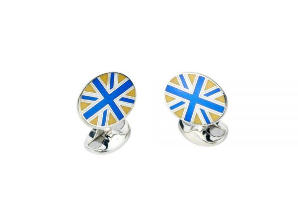 Sterling Silver Royal Blue, White and Yellow Enamel Union Jack Cufflinks