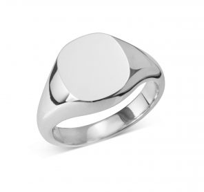 Sterling Silver Cushion Signet Ring (9x11mm)