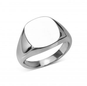 Sterling Silver Cushion Signet Ring (14x13mm)