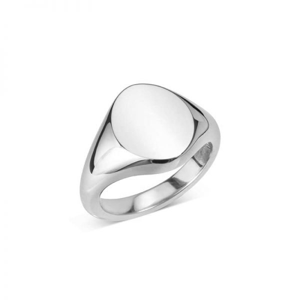 Sterling Silver Oval Signet Ring (14x11.5mm)