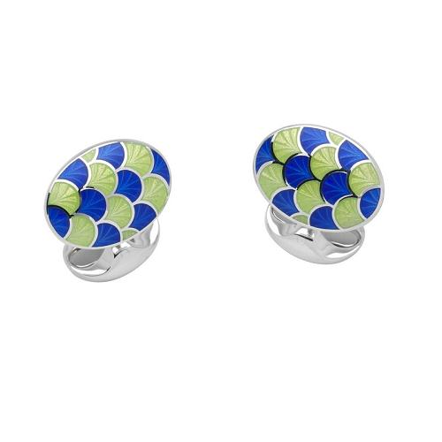 Sterling Silver Royal Blue & Lime Green Enamel Cufflinks