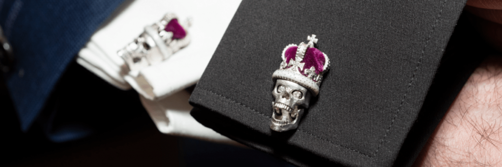 Signature White Gold Skull Cufflinks